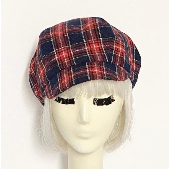 Plaid Red Newsboy Hat